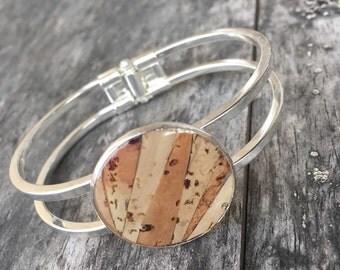 Recycled wine cork mosaic cuff bracelet
