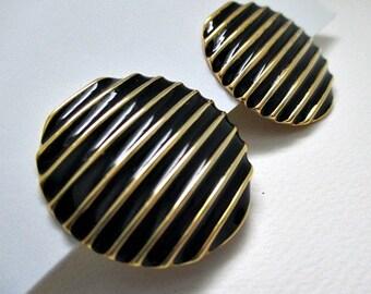 Black Enamel Goldtone Vintage Clip On Button Earrings - Vintage Jewelry Earrings