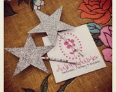 Silver glitter star hair pins set, 2 large stars