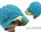 Girls newsboy hat with flower fabric brim; button brim hat, reversible hat, wholesale hats, girls crochet hat; crochet newsboy with brim