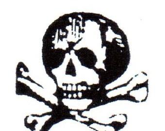 Skull & Crossbones Red Rubber Stamp-MEDIUM-Original design 03103, halloween rubber stamp, pirate rubber stamp