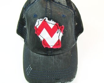 Distressed Trucker Hats - Wisconsin Home Red White on Black