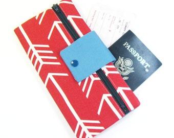 Travel Wallet / Travel Passport Holder / Passport Wallet / Passport Case / Passport Cover - Red Arrow
