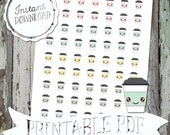 Tiny Kawaii Coffee Cups - Printable Planner Stickers - PDF - Instant Download