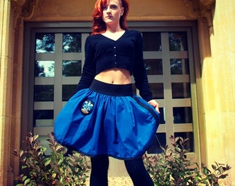 Ravenclaw Mini Skirt - Black Elastic Waist with Patch and Wand Pocket - SMALL
