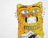 Art Print Crazy Cat Lady with Ten Cats