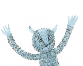Square Greeting Card: Give Me A Hug Monster