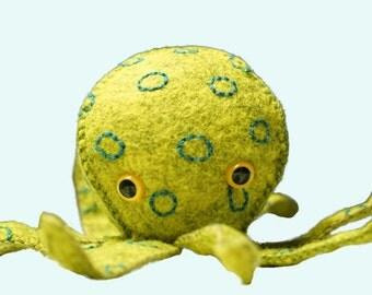 Stuffed Octopus Blue-ringed Softie Wool Felt Toy Plushy Ocean Doll