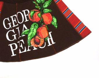 Georgia Peach - Upcycled Tee Skirt Womens Med MINI skirt - Orange Fruit Brown red black stripes upcycled clothing sweet juicy skirt OOAK