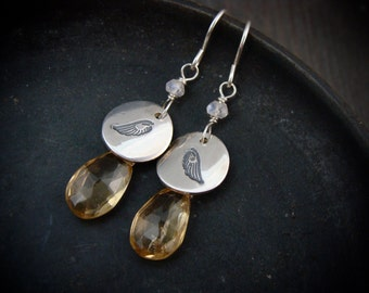 icarus … citrine and moonstone dangles