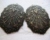 Vintage Embossed Filigree Brass Earring Pendants in Black Patina - 1 pair