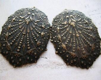 Vintage Embossed Filigree Brass Earring Pendants in Black Patina - 1 pair - 42mm in length