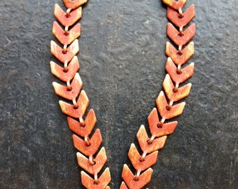 Chevron Earring Chains in Paprika Orange Brass - 2 - 2 inch Pieces
