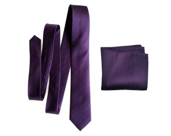 Eggplant silk necktie. Elegant purple woven herringbone pattern tie. Men's silk necktie. Pocket squares available too!