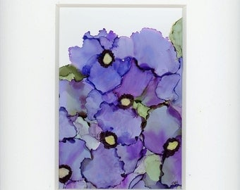 Pansies painting done with alcohol inks cottage chic one of a kind art