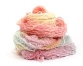 Pastel aran boucle yarn, hand dyed soft alpaca wool blend light worsted knitting crochet wool, Perran Yarns Unicorn Clouds, pink lilac lemon