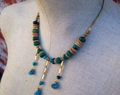 Desert Winds - Turquoise and Chrysacola beaded tribal necklace