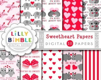 40% off Valentines Day digital paper with koala bears, elephants, hippos, owls, squirrels, cupcakes, cute, kawaii,  scrapbook Instant Downlo