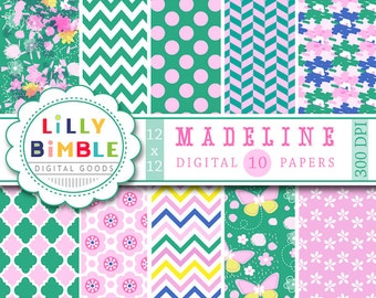 80% off modern digital paper in green and pink, lavender, butterflies, flowers, Madeline, Instant Download