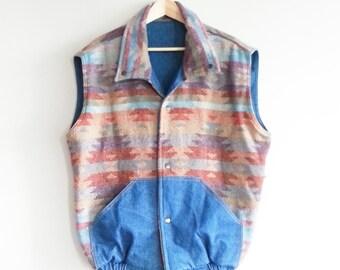 Navajo Print Vest 80s~ Reversible Denim Vest 1980s~ Vintage Kitsch Hipster~ XL~ Grunge Vest~ Boho Jeans Vest~ Wool Vintage Vest