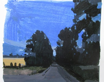 Evening Blue, Original Summer Landscape Collage Painting on Paper, Stooshinoff