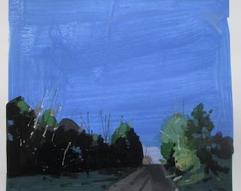 Evening Light on 10, Original Spring Landscape Collage Painting on Paper, Stooshinoff