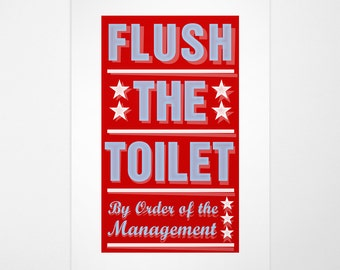 """Bathroom Wall Decor- Kid Bathroom Art- Kids Wall Decor- Pick Your By Order of the Management Print- 8""""x14"""" fits 11""""x17"""" frame- Playroom Art"""
