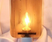 Glass Night Light, Amber and White Fused Glass, Handmade Home and Living