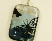 Glass Butterfly Pendant Fused Glass