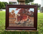 Original Oil Painting Martha Nappin Belgian Horse Trees Landscape by Artist debra alouise