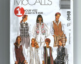 McCall's  Misses' Unlined Vests Pattern 8940