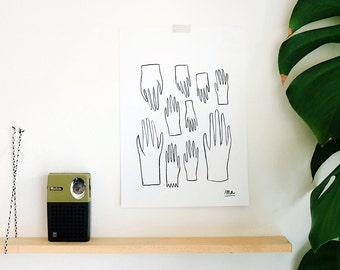 Hands ! 02 / Original drawing / A4 paper artwork / Signed / Indian ink / Pattern / Minimalist