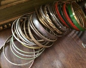 Armful of Bangles / Lot of 36 Metal / Enamel Bangle Bracelets / Destash / Costume