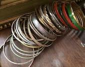 Armful of Bangles / Lot of 36 Metal / Enamel Bangle Bracelets / Destash / Costume