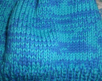 Hand knit knitted Peruvian wool hat cap skicap watchcap double strand blue turquoise one size men women beanie