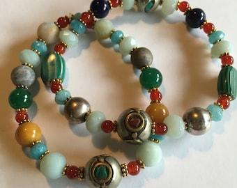 Lorimarsha Bracelet Set- Two Beaded Gemstone Braceleys