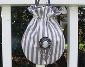 Purse Reticule French gray striped cameo drawstring bag