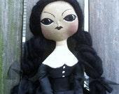 Primitive Folk Art Doll Wednesday Adams Inspired Halloween