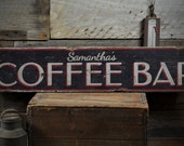 Coffee Bar Wood Sign, Custom Barista Shop Owner Name Sign, Coffee Java Lover Kitchen Decor - Rustic Hand Made Vintage Wooden Sign ENS1001440