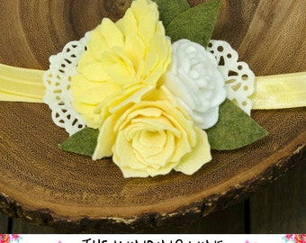 Yellow/White Flower Cluster Headband or Clip, Well Dressed Wolf m2m Dandy Dress/Bubble