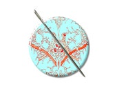 Jacobean design turquoise ornage needle minder magnet cross stitching sewing tool sewing notion wife gift under 10 stocking stuffer