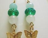 Green Jade, Quartz, gold Butterfly earrings