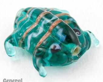 20mm Teal Lampwork Frog Bead (6 Pcs)  #4666