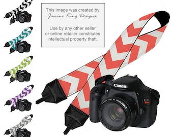 SALE Chevron Dslr Camera Strap Padded Neck Strap Digital SLR Camera Strap Nikon Canon  - Choose coral teal black gray purple lime MTO