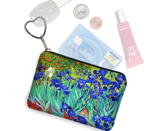 Small Zipper Pouch Coin Purse Keychain Key Fob Business Card Holder Purse Organizer Van Gogh Irises Floral fabric  blue orange green RTS