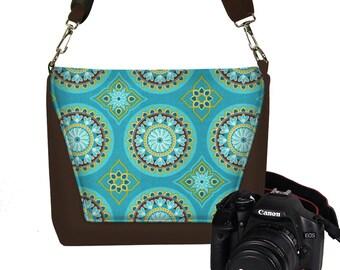 CLEARANCE Camera Case DSLR Camera Bag Purse Womens Messenger Bag, Nikon Camera Bag, Canon Camera Bag, Suzani Fabric blue brown yellow RTS