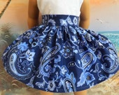 American Girl Doll Clothes Blue Paisley Very Fully Gathered 50s Style Skirt with Waistband Medley NEW Style
