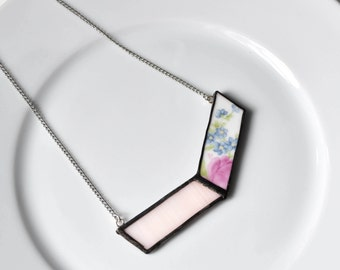 Broken China and Stained Glass Chevron Necklace - Pink and Blue Floral