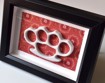 Framed China Knuckles - White Porcelain on Red