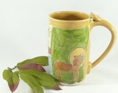 Large Coffee cup with horse / Pottery Mug / Ceramic teacup - Beer stein, tankard, artistic cup, Unique Coffee Mug, Ceramic Coffee Cup, 468